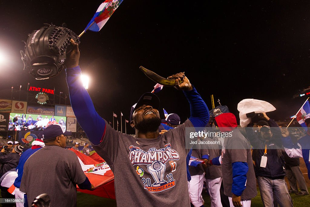 Fernando Rodney #56 of Team Dominican Republic celebrates after winning the 2013 World Baseball Classic Championship Game against Team Puerto Rico on Tuesday, March 19, 2013 at AT&T Park in San Francisco, California.