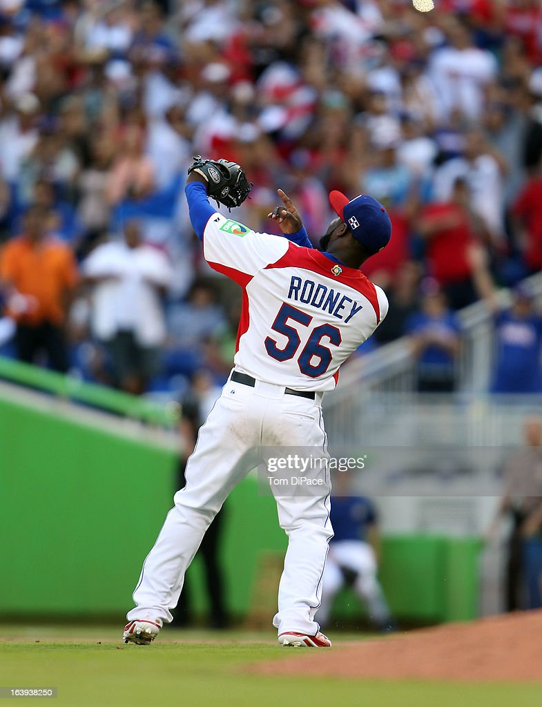 Fernando Rodney #56 of Team Dominican Republic celebrates defeating Team Puerto Rico in Pool 2, Game 6 in the second round of the 2013 World Baseball Classic on Saturday, March 16, 2013 at Marlins Park in Miami, Florida.