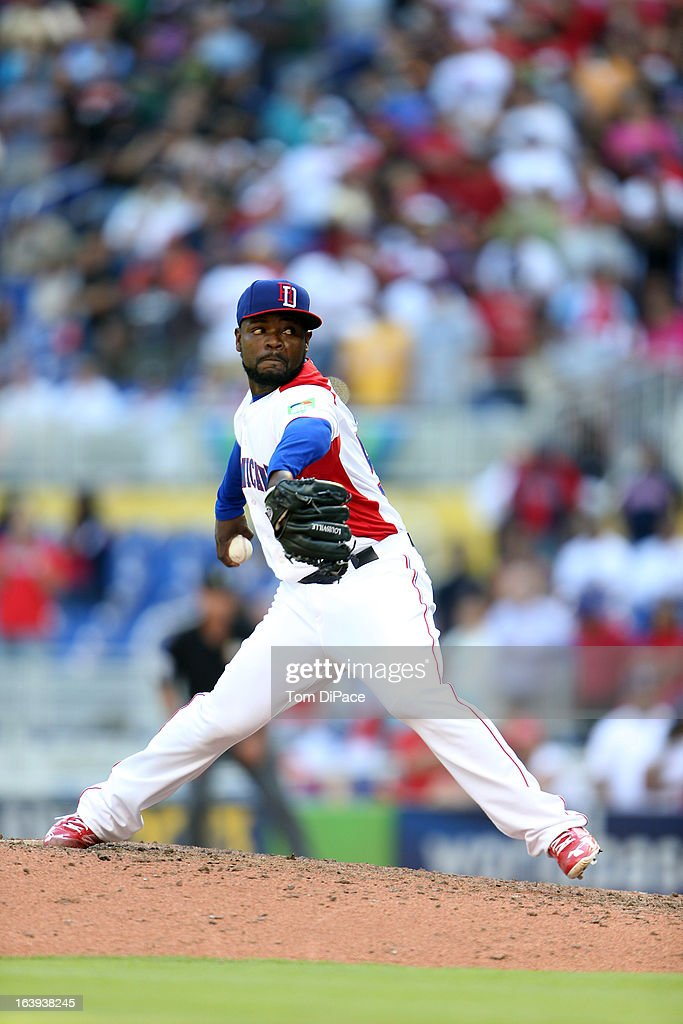 Fernando Rodney #56 of Team Dominican Republic pitches during Pool 2, Game 6 against Team Puerto Rico in the second round of the 2013 World Baseball Classic on Saturday, March 16, 2013 at Marlins Park in Miami, Florida.