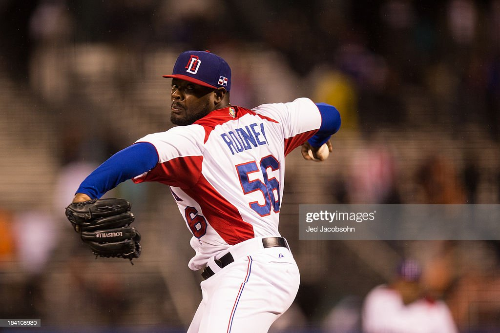 Fernando Rodney #56 of Team Dominican Republic pitches in the 2013 World Baseball Classic Championship Game against Team Puerto Rico on Tuesday, March 19, 2013 at AT&T Park in San Francisco, California.