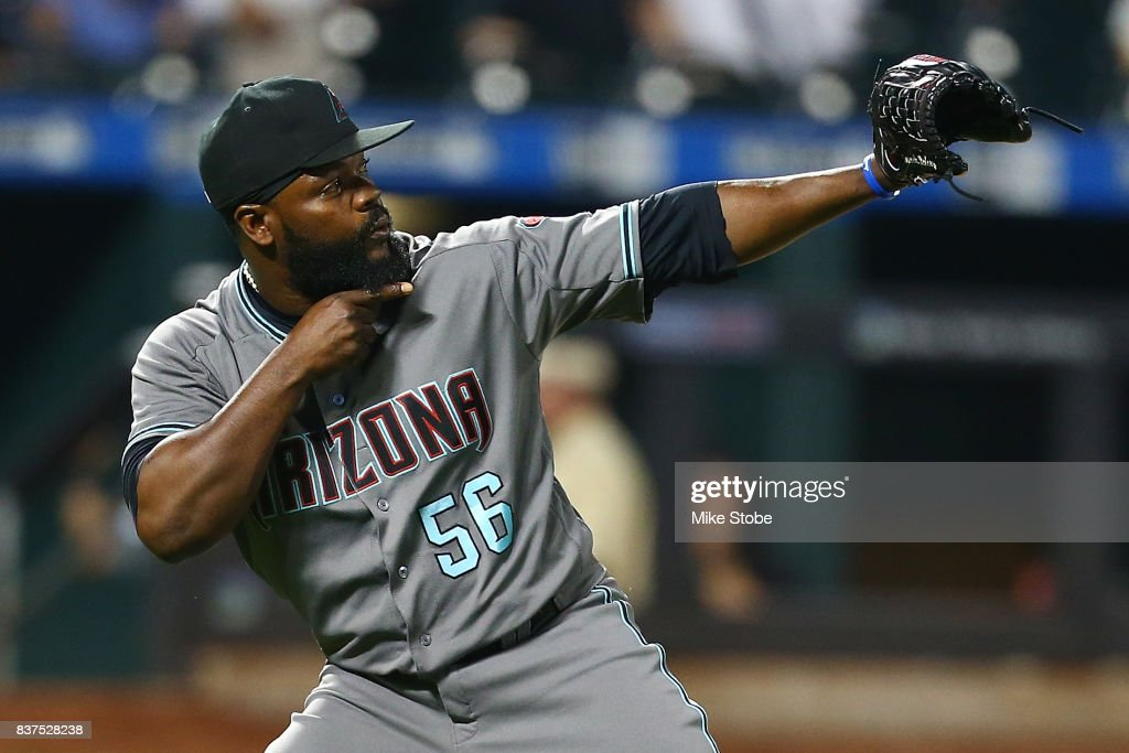 Fernando Rodney #56 of the Arizona Diamondbacks celebrates after defeating the New York Mets 7-4 at Citi Field on August 22, 2017 in the Flushing neighborhood of the Queens borough of New York City.