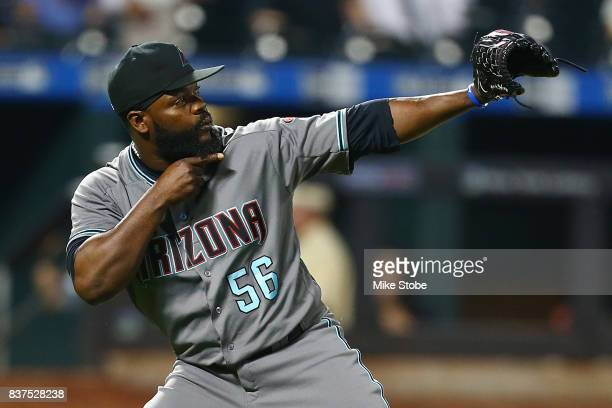 Fernando Rodney of the Arizona Diamondbacks celebrates after defeating the New York Mets 74 at Citi Field on August 22 2017 in the Flushing...