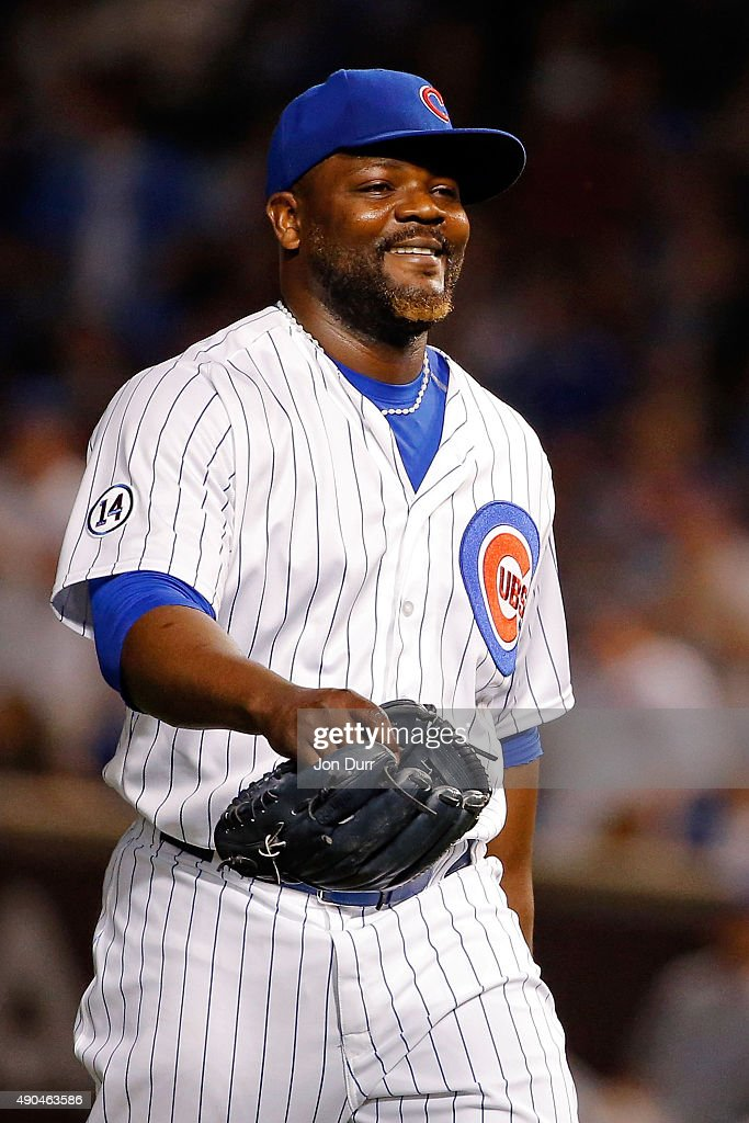 <a gi-track='captionPersonalityLinkClicked' href=/galleries/search?phrase=Fernando+Rodney&family=editorial&specificpeople=547291 ng-click='$event.stopPropagation()'>Fernando Rodney</a> #57 of the Chicago Cubs smiles after making a play against the Kansas City Royals to end the eleventh inning at Wrigley Field on September 28, 2015 in Chicago, Illinois. The Chicago Cubs won 1-0 in eleven innings.