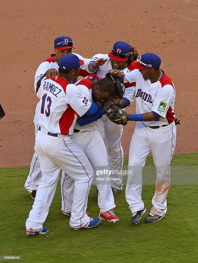 Fernando Rodney #56 of the Dominican Republic celebrates after winning a World Baseball Classic second round game against Puerto Rico at Marlins Park on March 16, 2013 in Miami, Florida.