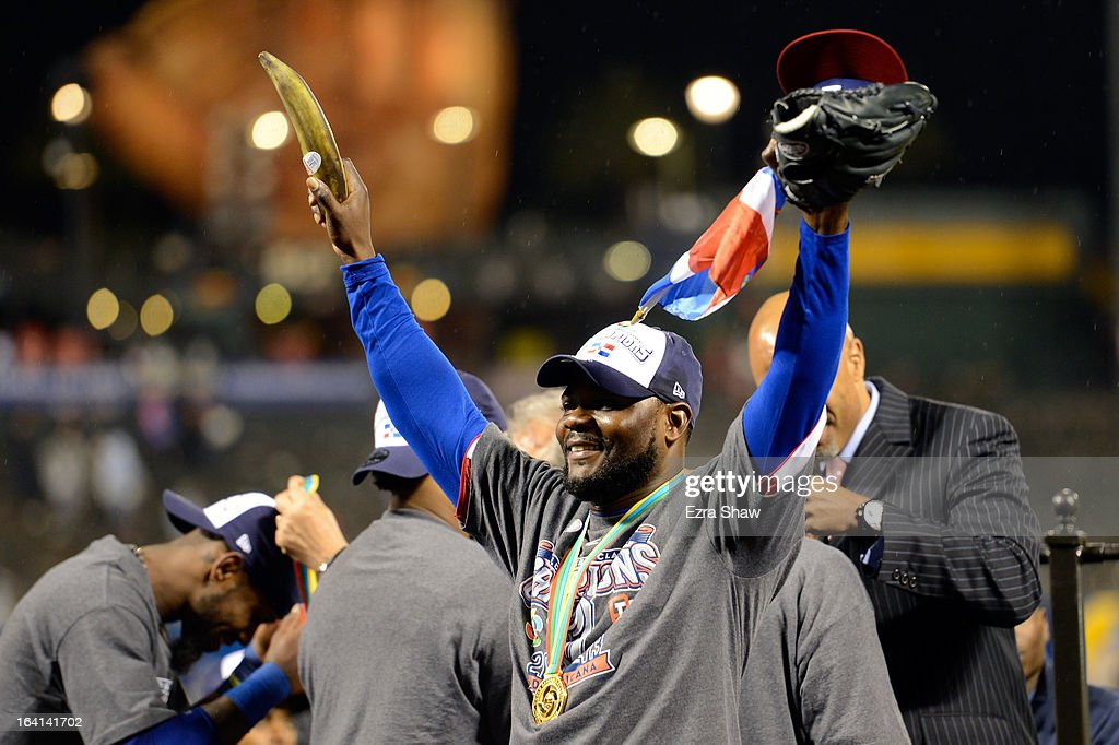 Fernando Rodney #56 of the Dominican Republic holds a plantain as he celebrates after defeating Puerto Rico to win the Championship Round of the 2013 World Baseball Classic by a score of 3-0 at AT&T Park on March 19, 2013 in San Francisco, California.