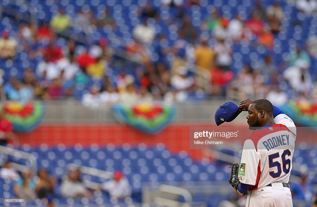 Fernando Rodney #56 of the Dominican Republic pitches during a World Baseball Classic second round game against Italy at Marlins Park on March 12, 2013 in Miami, Florida.