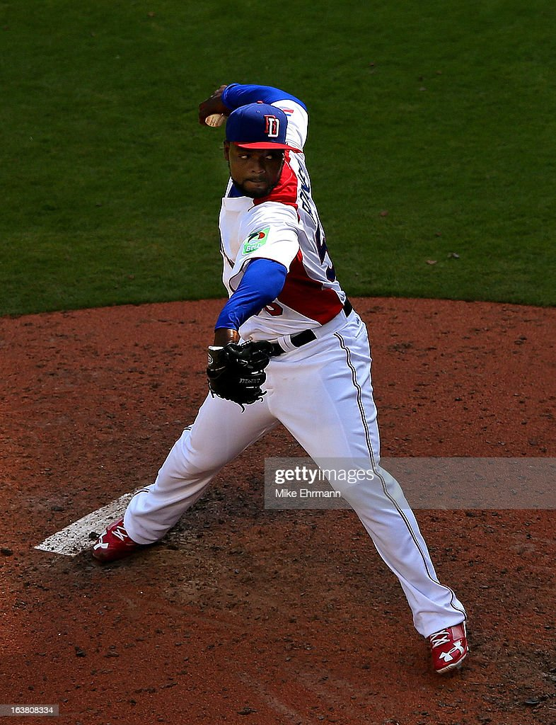 <a gi-track='captionPersonalityLinkClicked' href=/galleries/search?phrase=Fernando+Rodney&family=editorial&specificpeople=547291 ng-click='$event.stopPropagation()'>Fernando Rodney</a> #56 of the Dominican Republic pitches during a World Baseball Classic second round game against Puerto Rico at Marlins Park on March 16, 2013 in Miami, Florida.