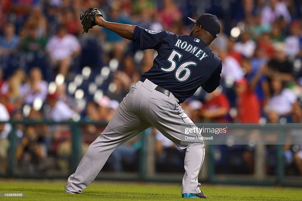 Fernando Rodney #56 of the Seattle Mariners celebrates a 5-2 win over the Philadelphia Phillies at Citizens Bank Park on August 19, 2014 in Philadelphia, Pennsylvania.