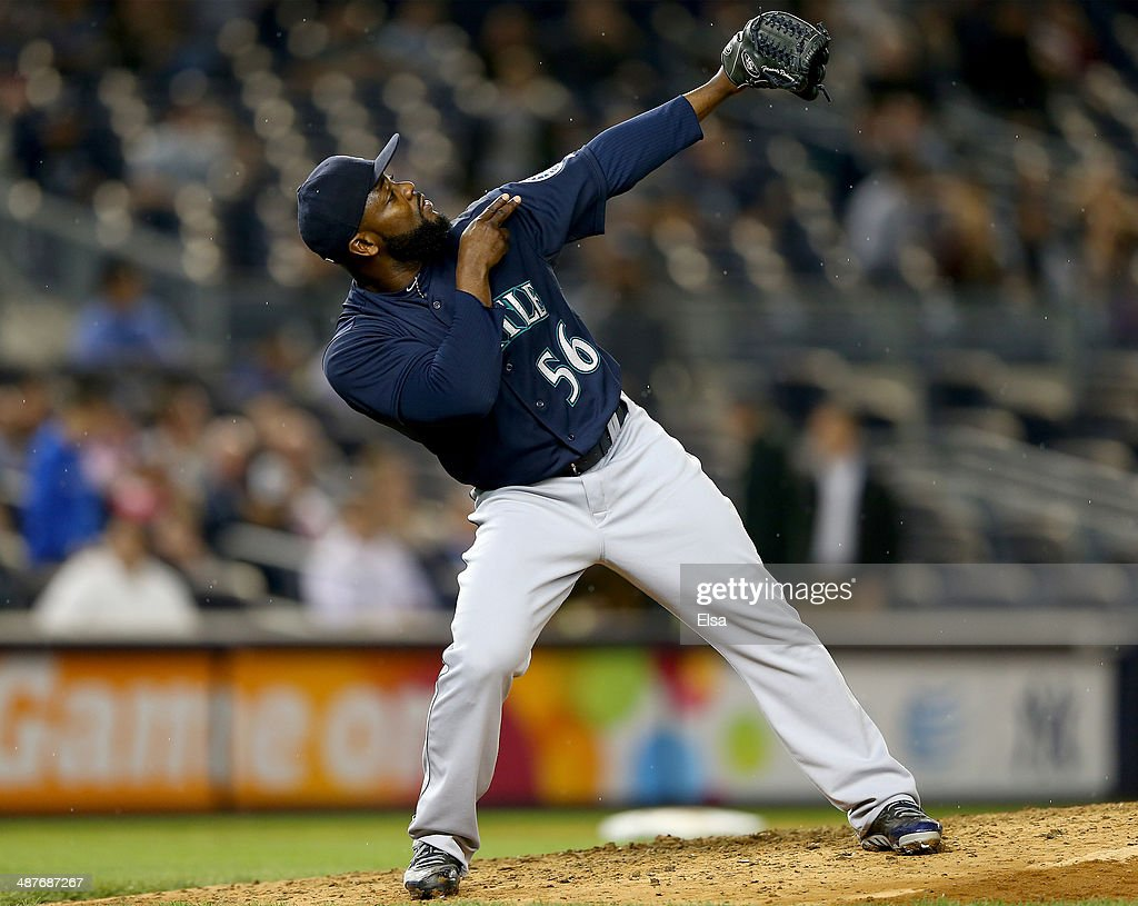 <a gi-track='captionPersonalityLinkClicked' href=/galleries/search?phrase=Fernando+Rodney&family=editorial&specificpeople=547291 ng-click='$event.stopPropagation()'>Fernando Rodney</a> #56 of the Seattle Mariners celebrates the win over the New York Yankees on May 1, 2014 at Yankee Stadium in the Bronx borough of New York City.The Seattle Mariners defeated the New York Yankees 4-2.