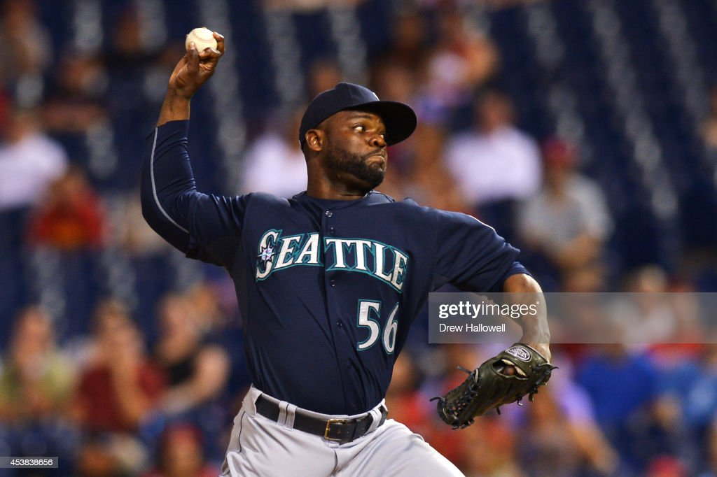 Fernando Rodney #56 of the Seattle Mariners delivers a pitch in the ninth inning against the Philadelphia Phillies at Citizens Bank Park on August 19, 2014 in Philadelphia, Pennsylvania. The Mariners won 5-2.