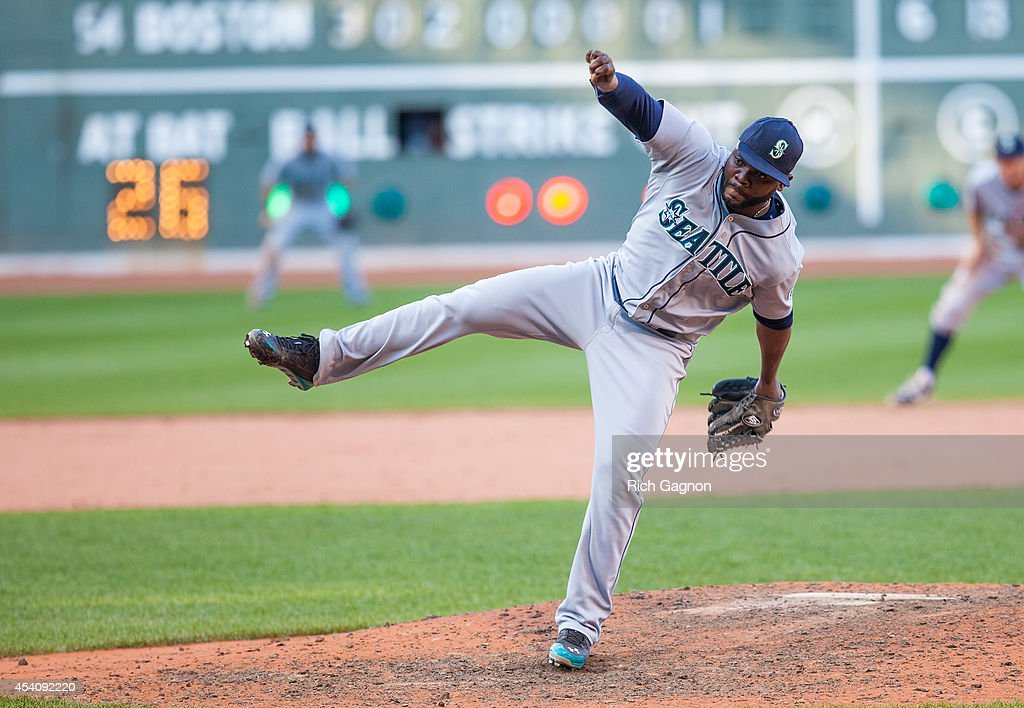 Fernando Rodney #56 of the Seattle Mariners pitches during the ninth inning against the Boston Red Sox at Fenway Park on August 24, 2014 in Boston, Massachusetts. The Mariners won 8-6.