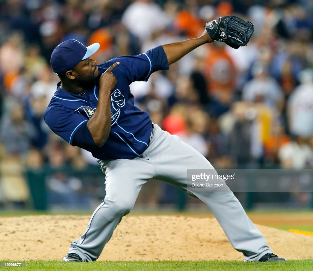 <a gi-track='captionPersonalityLinkClicked' href=/galleries/search?phrase=Fernando+Rodney&family=editorial&specificpeople=547291 ng-click='$event.stopPropagation()'>Fernando Rodney</a> #56 of the Tampa Bay Rays celebrates after recording a save in a 3-0 win over the Detroit Tigers at Comerica Park on June 5, 2013 in Detroit, Michigan.