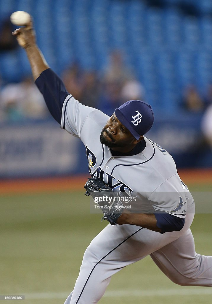 Fernando Rodney #56 of the Tampa Bay Rays delivers a pitch during MLB game action against the Toronto Blue Jays on May 22, 2013 at Rogers Centre in Toronto, Ontario, Canada.