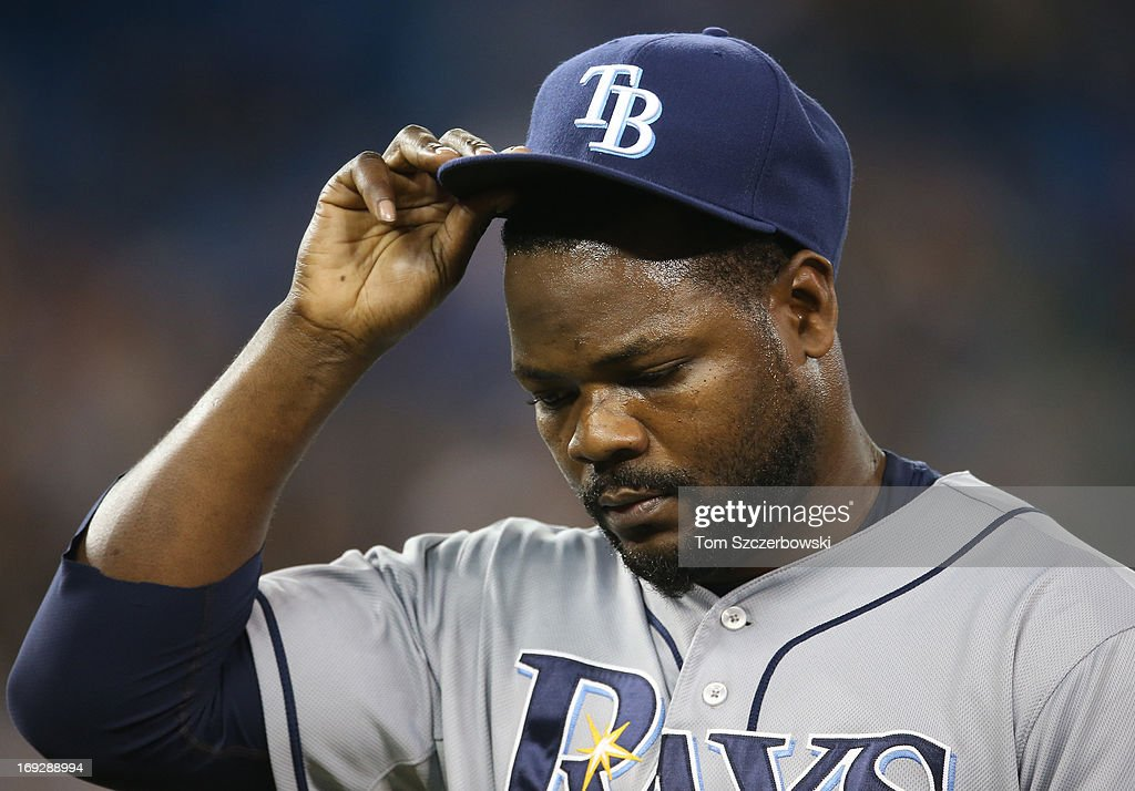 Fernando Rodney #56 of the Tampa Bay Rays exits the game after giving up a game-tying home run in the ninth inning during MLB game action against the Toronto Blue Jays on May 22, 2013 at Rogers Centre in Toronto, Ontario, Canada.