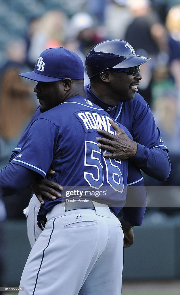 Fernando Rodney #56 of the Tampa Bay Rays gets congratulated by George Hendrick #25 after their win against the Chicago White Sox on April 28, 2013 at U.S. Cellular Field in Chicago, Illinois. TheTampa Bay Rays defeated the Chicago White Sox 8-3.