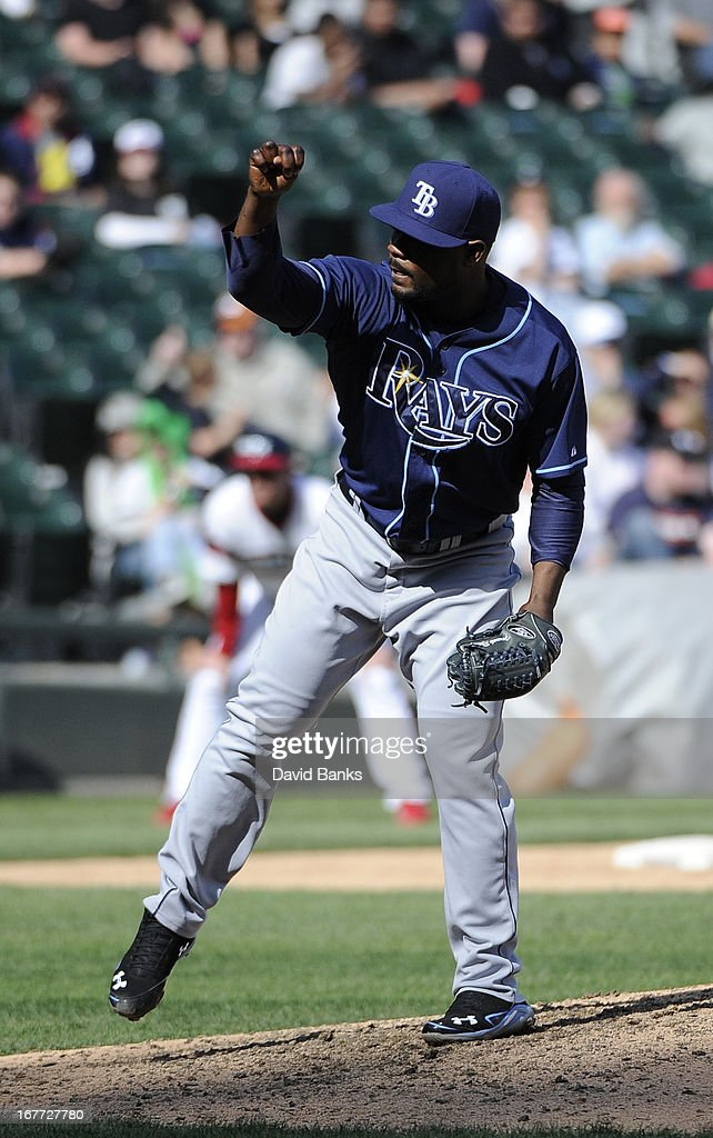 <a gi-track='captionPersonalityLinkClicked' href=/galleries/search?phrase=Fernando+Rodney&family=editorial&specificpeople=547291 ng-click='$event.stopPropagation()'>Fernando Rodney</a> #56 of the Tampa Bay Rays pitches against the Chicago White Sox during the ninth inning on April 28, 2013 at U.S. Cellular Field in Chicago, Illinois. TheTampa Bay Rays defeated the Chicago White Sox 8-3.