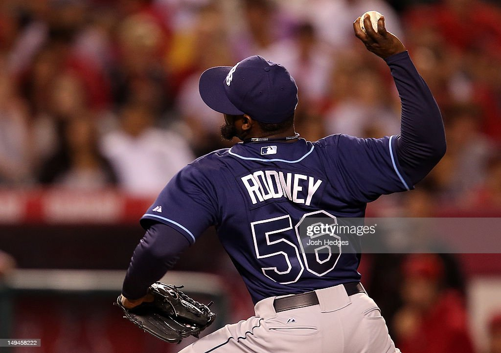 Fernando Rodney #56 of the Tampa Bay Rays pitches against the Los Angeles Angels of Anaheim at Angel Stadium of Anaheim on July 28, 2012 in Anaheim, California.