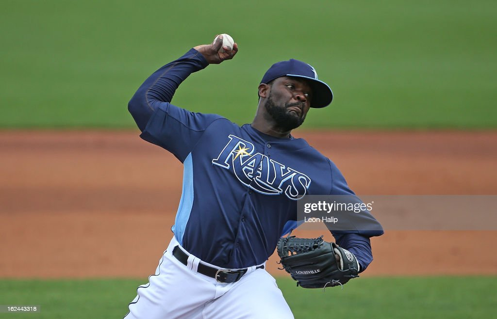 <a gi-track='captionPersonalityLinkClicked' href=/galleries/search?phrase=Fernando+Rodney&family=editorial&specificpeople=547291 ng-click='$event.stopPropagation()'>Fernando Rodney</a> #56 of the Tampa Bay Rays pitches during the Spring Training game against Pittsburgh Pirates on February 23, 2013 in Port Charlotte, Florida. The Pirates defeated the Rays 3-2.