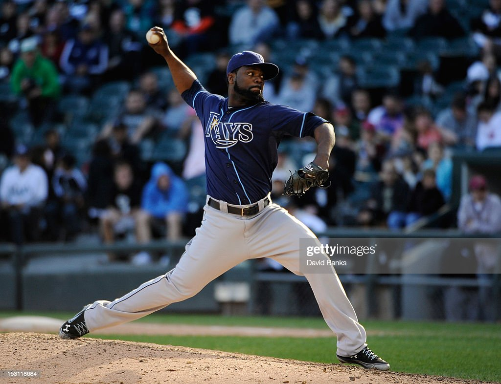<a gi-track='captionPersonalityLinkClicked' href=/galleries/search?phrase=Fernando+Rodney&family=editorial&specificpeople=547291 ng-click='$event.stopPropagation()'>Fernando Rodney</a> #56 of the Tampa Bay Rays pitches in the ninth inning against the Chicago White Sox on September 30, 2012 at U.S. Cellular Field in Chicago, Illinois. The Tampa Bay Rays defeated the Chicago White Sox 6-2.