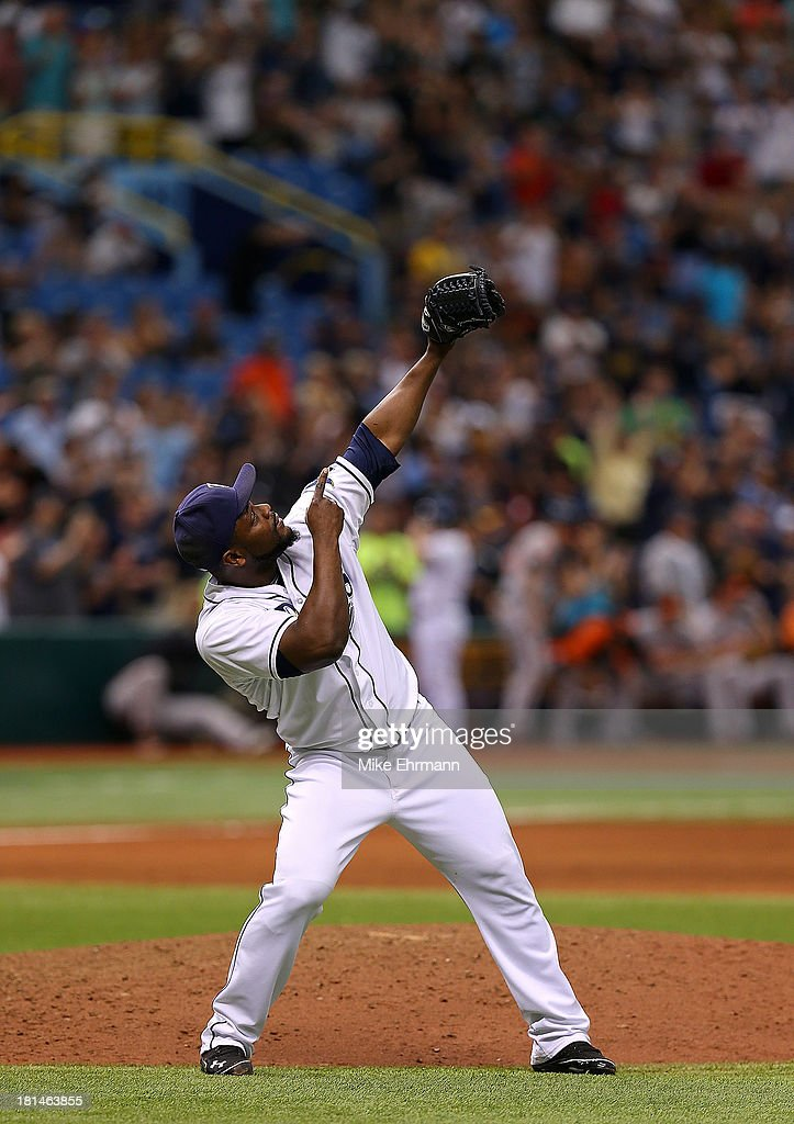 <a gi-track='captionPersonalityLinkClicked' href=/galleries/search?phrase=Fernando+Rodney&family=editorial&specificpeople=547291 ng-click='$event.stopPropagation()'>Fernando Rodney</a> #56 of the Tampa Bay Rays reacts to winning a game against the Baltimore Orioles at Tropicana Field on September 21, 2013 in St Petersburg, Florida.