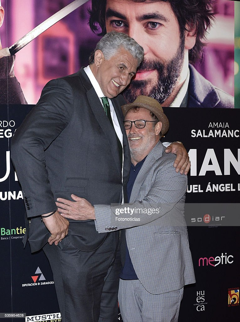 Fernando Romay and Pablo Carbonell attend the 'Nuestros Amantes' premiere at Palafox cinema on May 30, 2016 in Madrid, Spain.