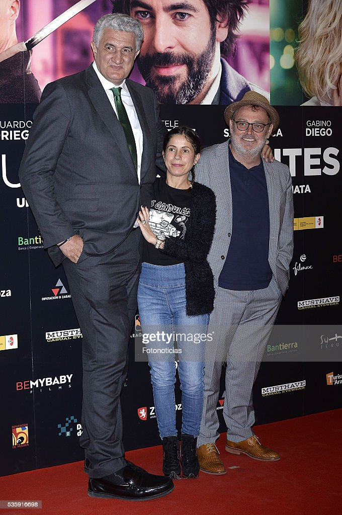 Fernando Romay, guest and Pablo Carbonell attend the 'Nuestros Amantes' premiere at Palafox cinema on May 30, 2016 in Madrid, Spain.
