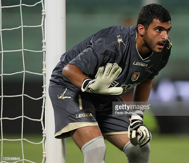 Fernando Rubens Rubinho the goalkeeper of Us Citta di Palermo reacts during the pre season friendly match between Us Citta di Palermo and Fenerbahce...