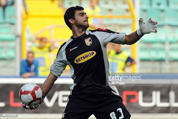 Fernando Rubinho goalkeeper of Palermo in action during the Serie A match played between US Citta di Palermo and AS Bari at Stadio Renzo Barbera on...