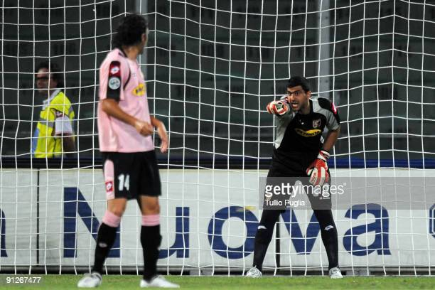 Fernando Rubinho goalkeeper of Palermo issues instructions to his teammate Nicolas Bertolo during Coppa ItaliaTim Cup match between USCitta di...