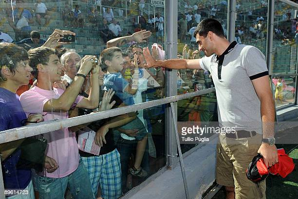 Fernando Rubinho new goalkeeper of USCitta di Palermo meets his new supporters at Stadio Renzo Barbera on August 5 2009 in Palermo Italy