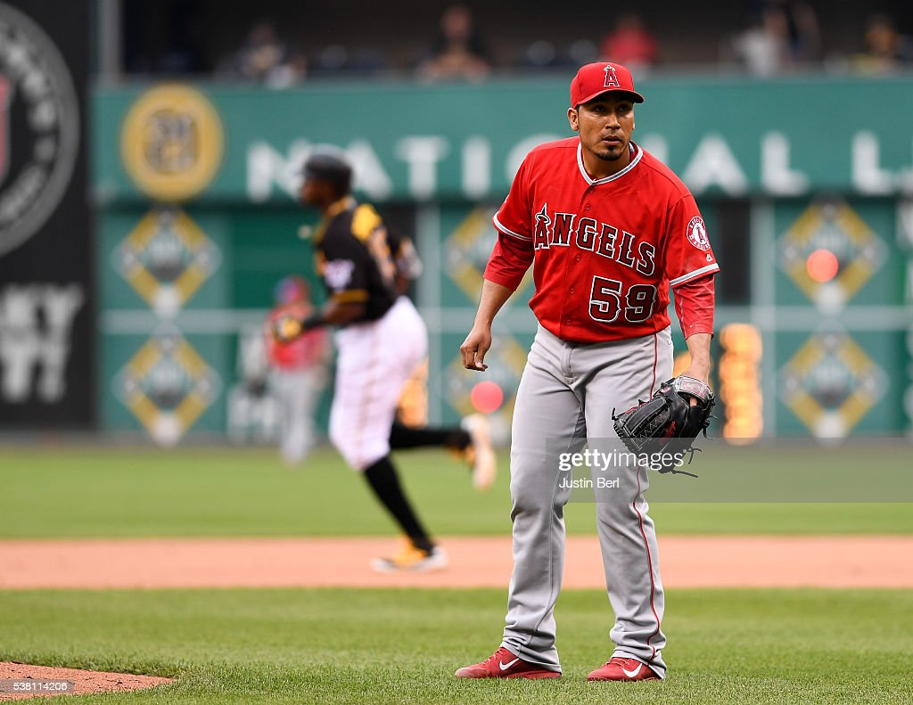 Fernando Salas 59 Of The Los Angeles Angels Anaheim Reacts As Gregory Polanco