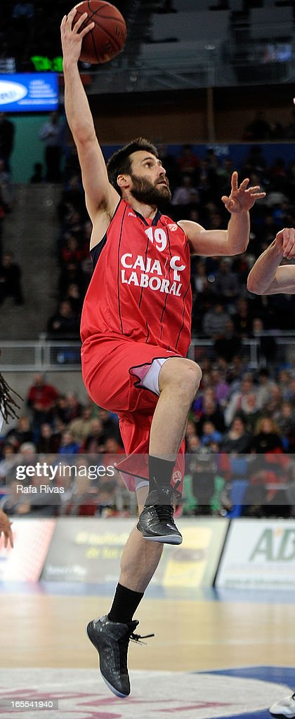 Fernando San Emeterio, #19 of Caja Laboral Vitoria in action during the 2012-2013 Turkish Airlines Euroleague Top 16 Date 14 between Caja Laboral Vitoria v Montepaschi Siena at Fernando Buesa Arena on April 4, 2013 in Vitoria-Gasteiz, Spain.