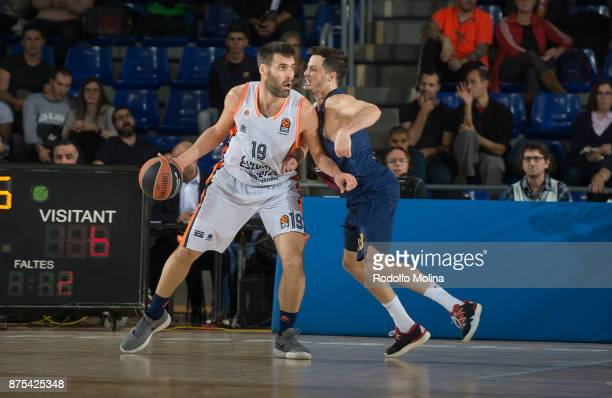 Fernando San Emeterio #19 of Valencia Basket in action during the 2017/2018 Turkish Airlines EuroLeague Regular Season Round 8 game between FC...
