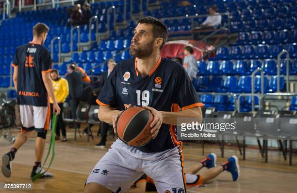 Fernando San Emeterio #19 of Valencia Basketwarm up prior the 2017/2018 Turkish Airlines EuroLeague Regular Season Round 8 game between FC Barcelona...