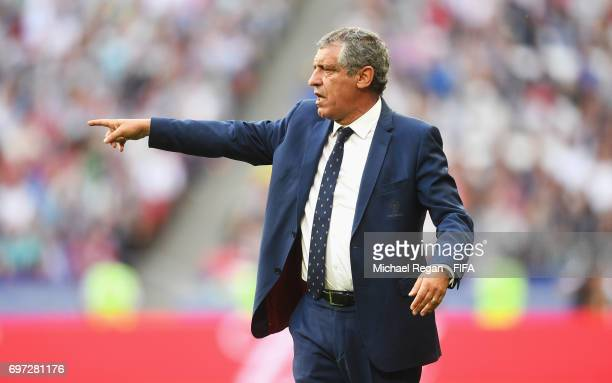 Fernando Santos head coach of Portugal gives his team instructions during to the FIFA Confederations Cup Russia 2017 Group A match between Portugal...