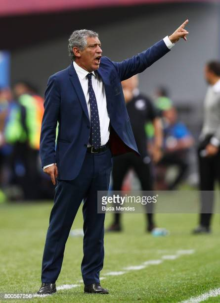 Fernando Santos head coach of Portugal gives his team instructions during the FIFA Confederations Cup Russia 2017 Group A match between New Zealand...