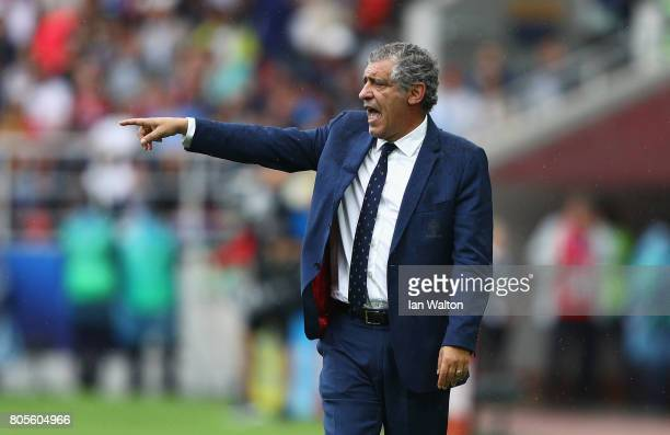 Fernando Santos head coach of Portugal gives his team instructions during the FIFA Confederations Cup Russia 2017 PlayOff for Third Place between...