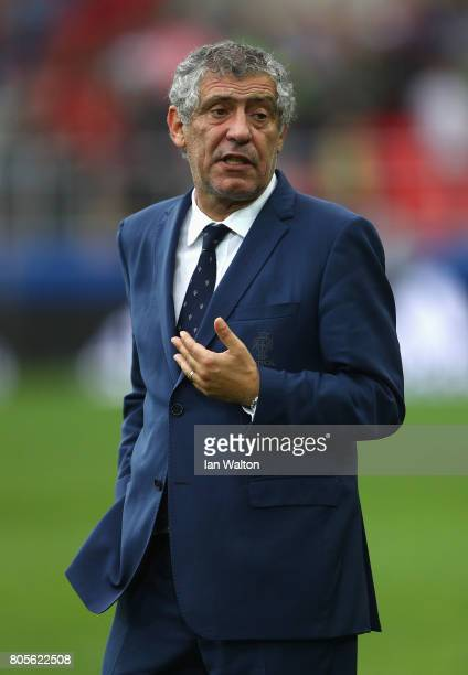 Fernando Santos head coach of Portugal looks on after the FIFA Confederations Cup Russia 2017 PlayOff for Third Place between Portugal and Mexico at...