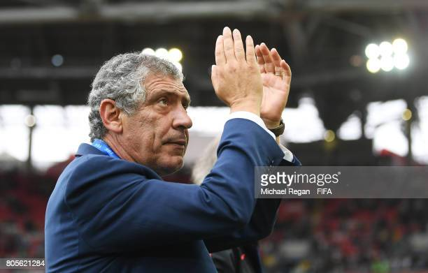 Fernando Santos head coach of Portugal shows appreciation to the fans after the FIFA Confederations Cup Russia 2017 PlayOff for Third Place between...