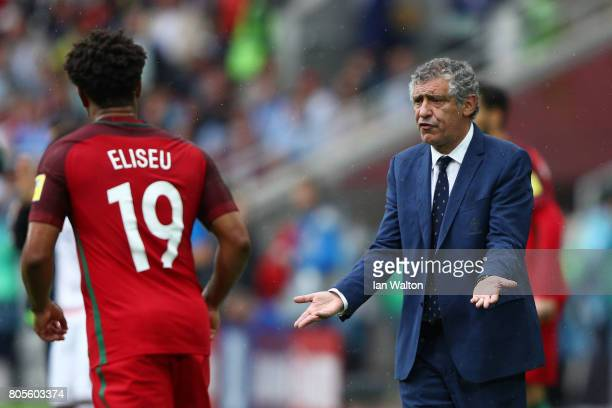 Fernando Santos head coach of Portugal speaks to Eliseu of Portugal during the FIFA Confederations Cup Russia 2017 PlayOff for Third Place between...