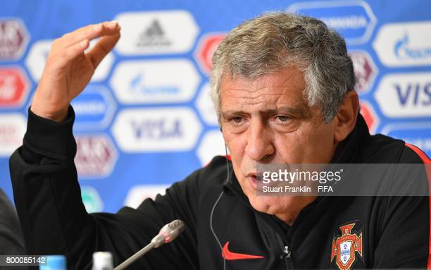 Fernando Santos head coach of Portugal talks to the media during a press conference of the Portugal national football team on June 23 2017 in Saint...
