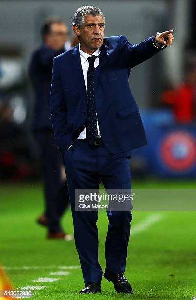 Fernando Santos manager of Portugal gestures during the UEFA EURO 2016 round of 16 match between Croatia and Portugal at Stade BollaertDelelis on...