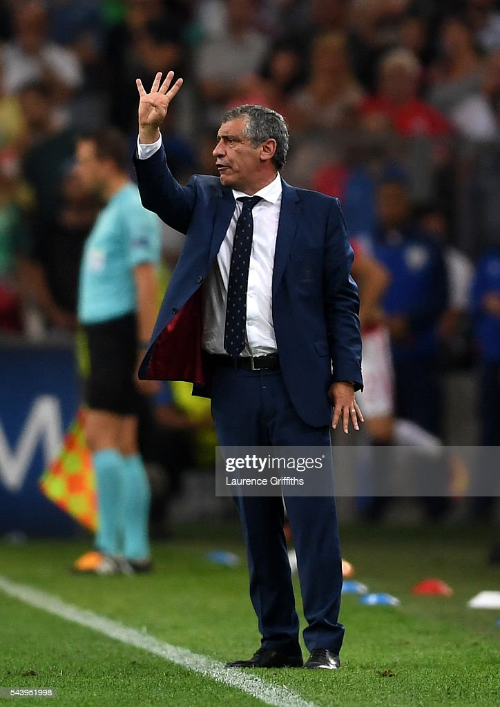 <a gi-track='captionPersonalityLinkClicked' href=/galleries/search?phrase=Fernando+Santos+-+Soccer+Coach&family=editorial&specificpeople=9459592 ng-click='$event.stopPropagation()'>Fernando Santos</a> manager of Portugal gestures during the UEFA EURO 2016 quarter final match between Poland and Portugal at Stade Velodrome on June 30, 2016 in Marseille, France.