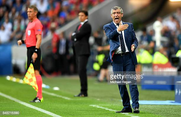 Fernando Santos manager of Portugal gestures during the UEFA EURO 2016 semi final match between Portugal and Wales at Stade des Lumieres on July 6...