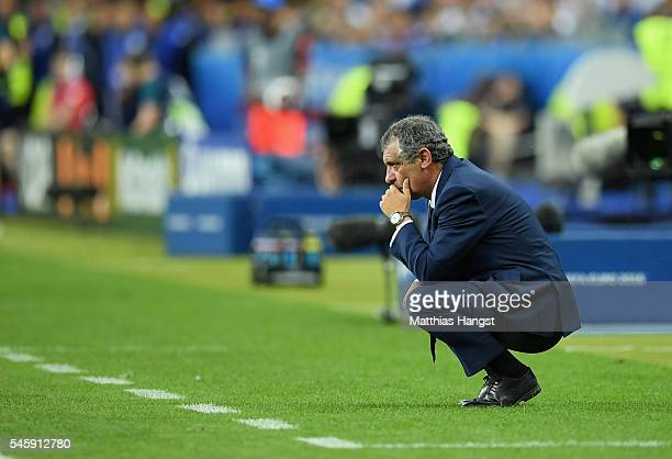 Fernando Santos manager of Portugal looks on during the UEFA EURO 2016 Final match between Portugal and France at Stade de France on July 10 2016 in...