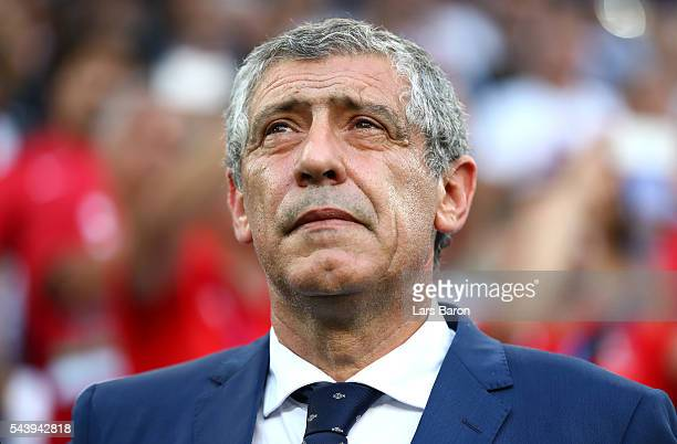 Fernando Santos manager of Portugal looks on prior to the UEFA EURO 2016 quarter final match between Poland and Portugal at Stade Velodrome on June...