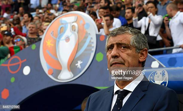 Fernando Santos manager of Portugal looks on prior to the UEFA EURO 2016 semi final match between Portugal and Wales at Stade des Lumieres on July 6...