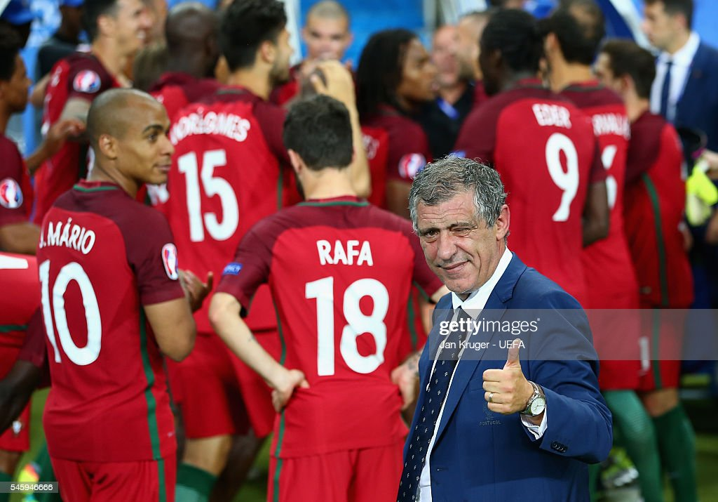 Fernando Santos manager of Portugal thumbs up after his side win 1-0 against France during the UEFA EURO 2016 Final match between Portugal and France at Stade de France on July 10, 2016 in Paris, France.