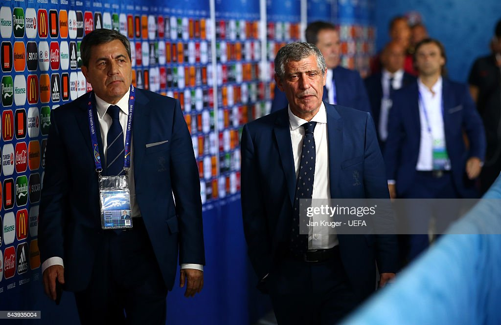 <a gi-track='captionPersonalityLinkClicked' href=/galleries/search?phrase=Fernando+Santos+-+Soccer+Coach&family=editorial&specificpeople=9459592 ng-click='$event.stopPropagation()'>Fernando Santos</a> (R) of Portugal is seen on arrival at the stadium prior to the UEFA EURO 2016 quarter final match between Poland and Portugal at Stade Velodrome on June 30, 2016 in Marseille, France.