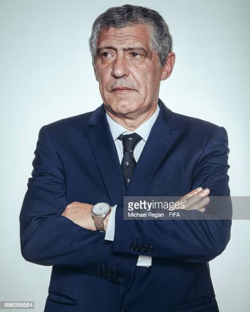 Fernando Santos poses for a picture during the Portugal team portrait session on June 15 2017 in Kazan Russia